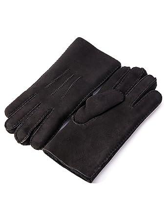 000e9b59f YISEVEN Men's Merino Rugged Sheepskin Shearling Leather Gloves Mittens  Sherpa Fur Long Cuff Thick Wool Lined