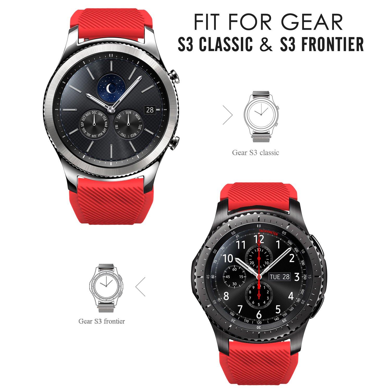 MoKo Gear S3 Frontier Smartwatch Bracelet en Silicone souple pour Samsung  Galaxy Gear S3 Frontier / S3 Classic / Moto 360 2nd Gen 46mm Smart Watch,