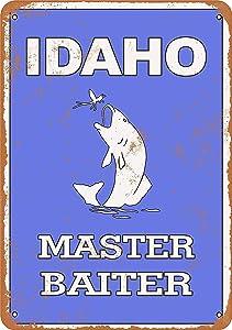 Anwei Signs 12 x 16 Tin Sign - Idaho Bass Fishing Master Baiter - Metal Sign Vintage Look Garage Man Cave Retro Wall Decor