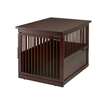 Richell Wooden End Table Crate, Large, Dark Brown