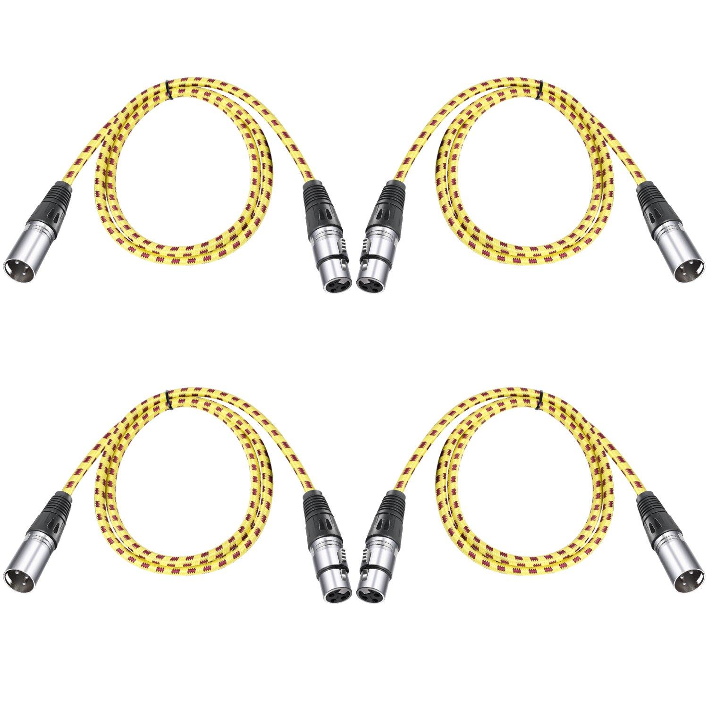 【激安アウトレット!】 Neewer 4本XLR DMX ケーブル 3pinsメスからオスへ 39.4 4本XLR inches/100 cm Neewer inches/100 LEDステージライト、ミキサー、プリアンプ、マイク、スピーカーシステムに対応(黄色) 黄黒 B072M7372K, コウザグン:25b91a77 --- efichas.com.br