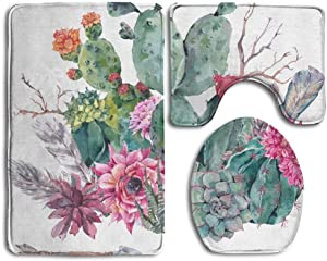 NEWcoco Exotic Natural Vintage Watercolor Bouquet in Boho Style Cactus Succulent Flowers Twigs White Non Slip 3 Piece Bathroom Mat Pedestal Rug + Lid Toilet Cover + Bath Mat Customized Artwork Print