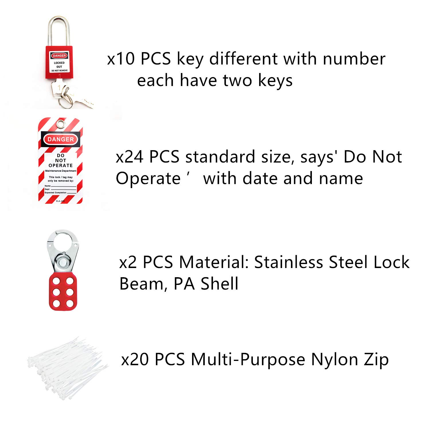 24 Lockout Tags 2 Lockout Hasps Includes 10 Key Different Padlocks with Numbers 20 Nylon Cable Lockout Tagout Station