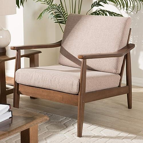"Baxton Studio Venza Mid-Century Modern Walnut Wood Light Brown Fabric Upholstered Lounge Chair Mid-Century/Light Brown/Walnut Brown/Fabric Polyester 100 ""/Rubber Wood/"