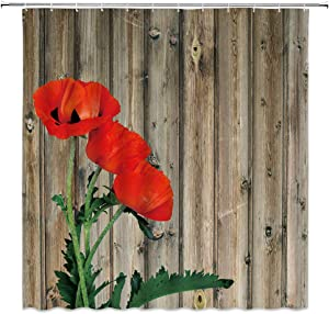 "AMFD Poppy Shower Curtain Red Poppy Flower on Brown Wooden Board Barn Spring Plant Nature Scenery Modern Simple Art Fabric Bathroom Curtains Decor Set Include Hooks,(70"" WX70 H)"