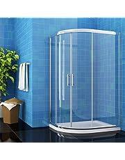 ELEGANT 900mm White Quadrant Shower Enclosures 6mm Safety Sliding Glass Shower Enclosure Cubicle Door