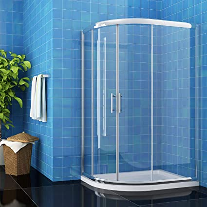 ELEGANT 900 x 760 mm Offset Quadrant Shower Enclosure 6mm Easy Clean Glass Sliding Shower Cubicle Door