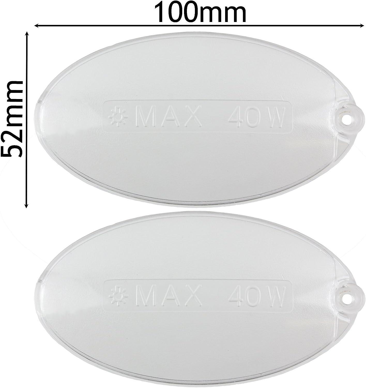 SPARES2GO - Difusor de luz para campana extractora (2 unidades, 100 x 52mm), diseño oval