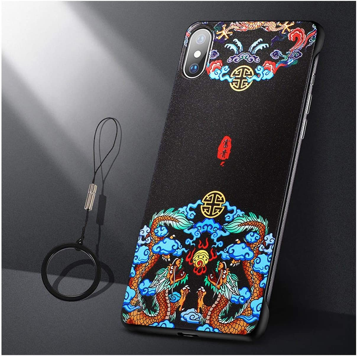 for iPhone 11 Pro Max Case Thin Frameless Ring Vintage Chinese Style for iPhone 11 Pro X Xs Max Xr 11 7 8 Plus Back Case,for iPhone 11pro Max,Red