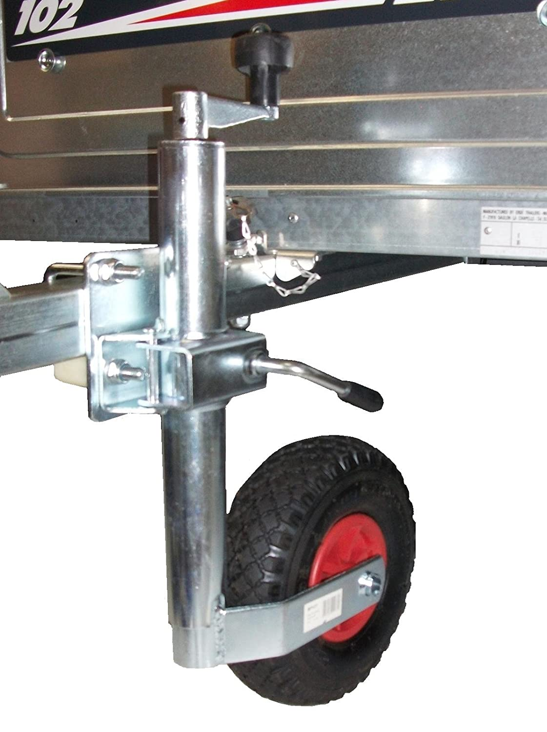 Trailer caravan Pneumatic Jockey Wheel 48mm and split clamp with FIXING KIT Pt no. LMX1595 Leisure Mart