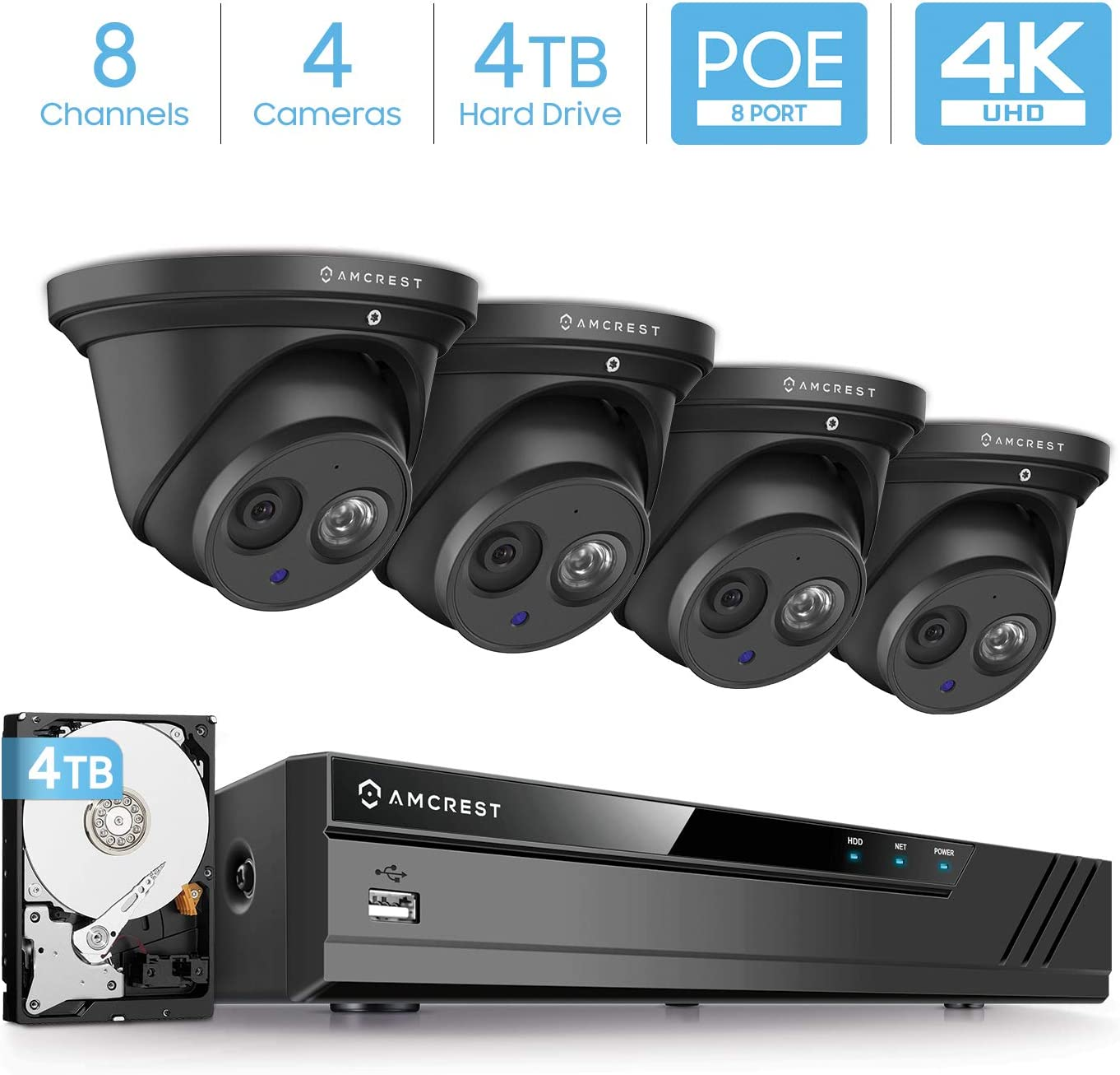 Amcrest 4K Security Camera System w 4K 8CH PoE NVR, 4 x 4K 8-Megapixel IP67 Weatherproof Metal Turret Dome POE IP Cameras 3840×2160 , Pre-Installed 4TB HDD, NV4108E-IP8M-T2499EB4-4TB Black