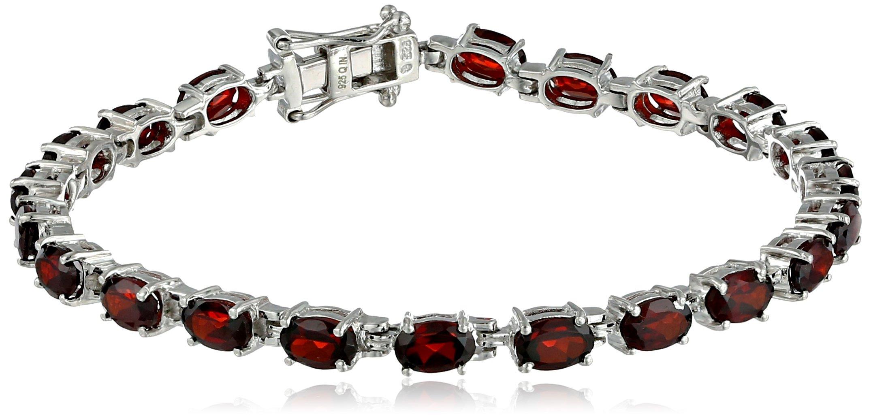 Sterling-Silver-Gemstone-Oval-Cut-Tennis-Bracelet