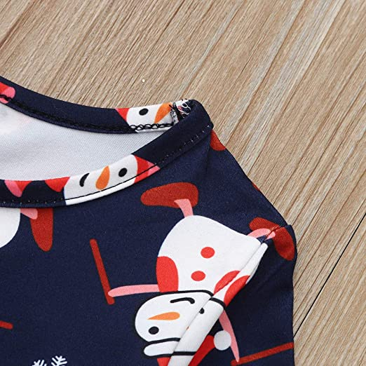 Toddler Girls Christmas Dress Vinjeely Blue Cartoon Snowman Print Xmas Clothes