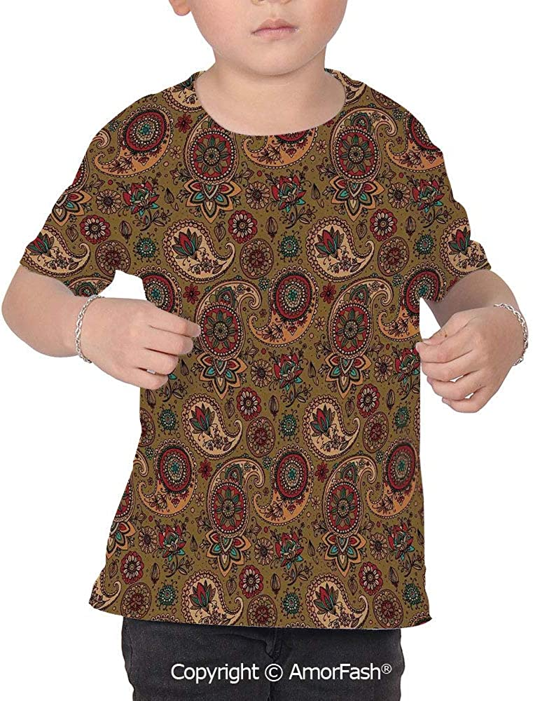 Paisley Childrens Summer Casual T Shirt Dresses Short Sleeve,Vintage Inspired M