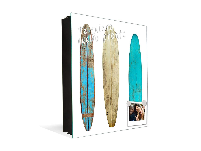 Concept Crystal Caja Llavero con 50 Ganchos para pequeña Empresa K03 Tabla de Surf de Madera: Amazon.es: Hogar