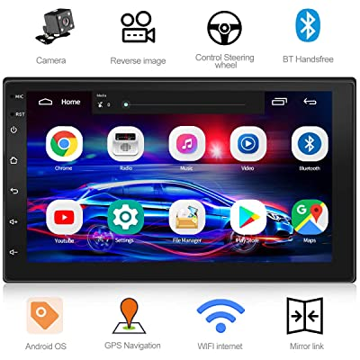 WZTO Double Din Car GPS Navigation Stereo, 7 inch Quad-Core Android 8.1 Touch Screen in Dash Navigation Car Radio Video Player with Bluetooth GPS WiFi Mirror Link Multimedia(1G RAM+16G ROM): Car Electronics