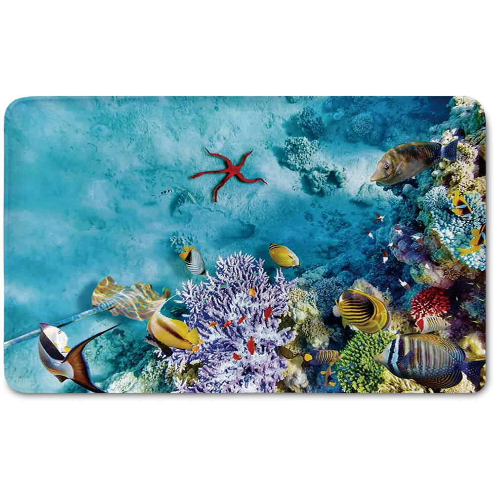 Memory Foam Bath Mat,Ocean,Corals Fishes Jellyfish Scatefish Starfish in Shallow UnderwaterPlush Wanderlust Bathroom Decor Mat Rug Carpet with Anti-Slip Backing,Light Blue Purple and Yellow