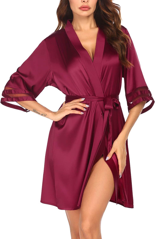 Kimono Damen Morgenmantel Kurz Robe Seide Bademantel Weiche Negligee 3//4 /Ärmel Nachtw/äsche Loungewear Sommer