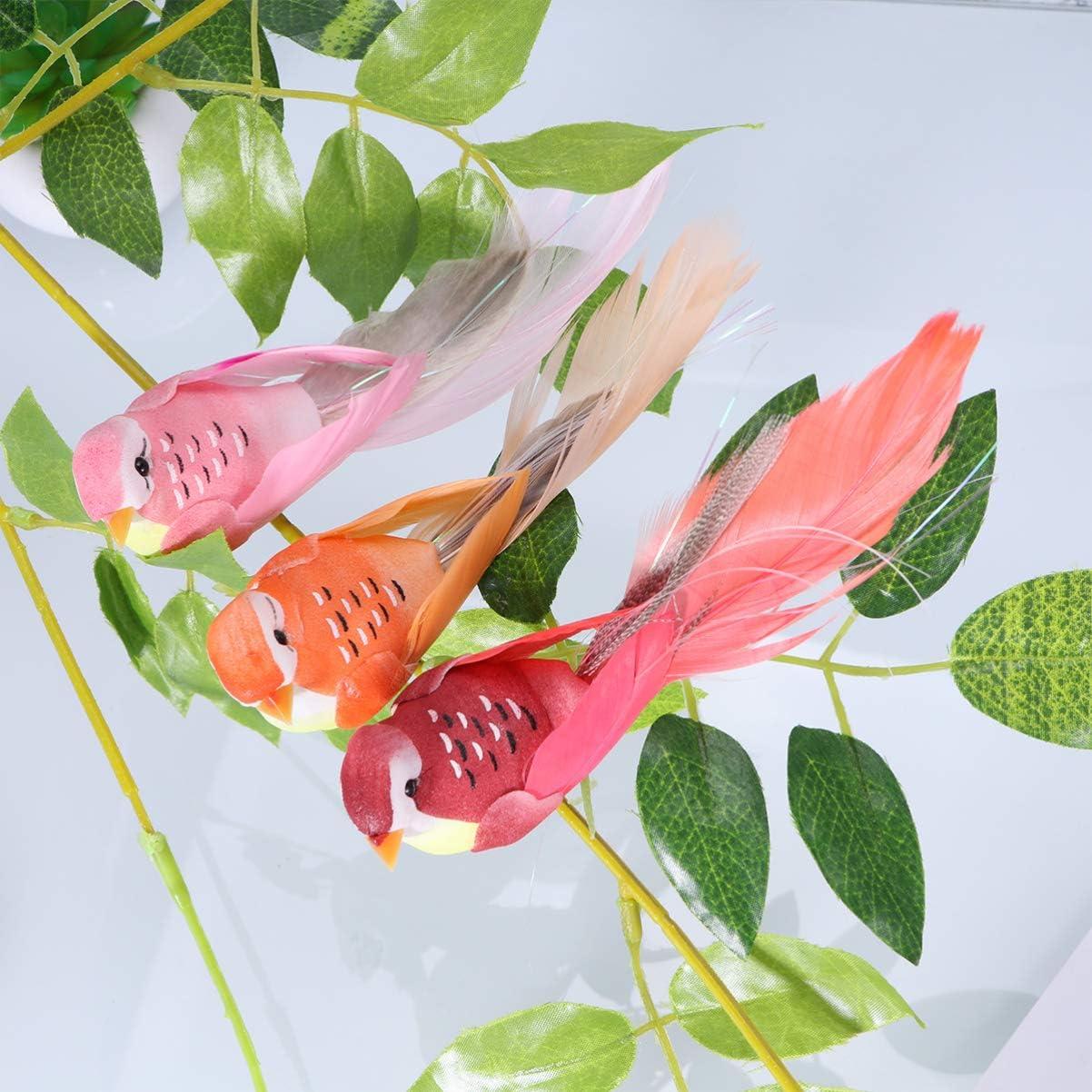 Amosfun Espuma Artificial Plumas p/ájaros Coloridos p/ájaros Falsos Regalo Juguetes DIY artesan/ía para favores de Fiesta decoraci/ón de jard/ín 12 Piezas