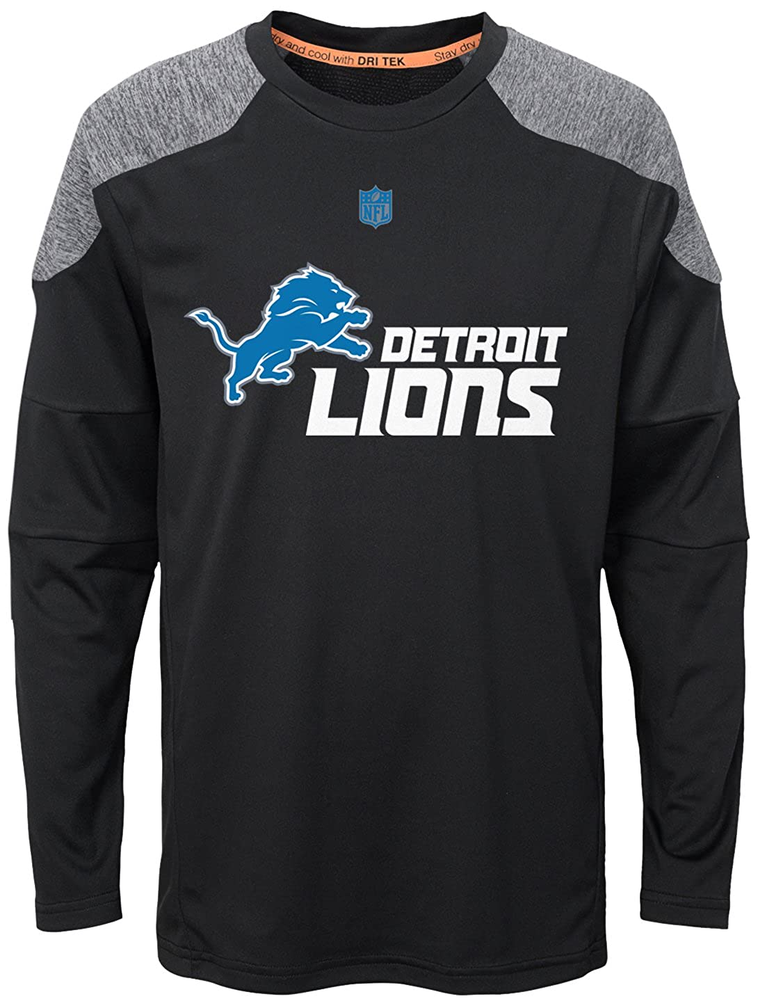 4 Outerstuff NFL Boys 4-7Gamma Long Sleeve Performance Tee-Black-S Detroit Lions