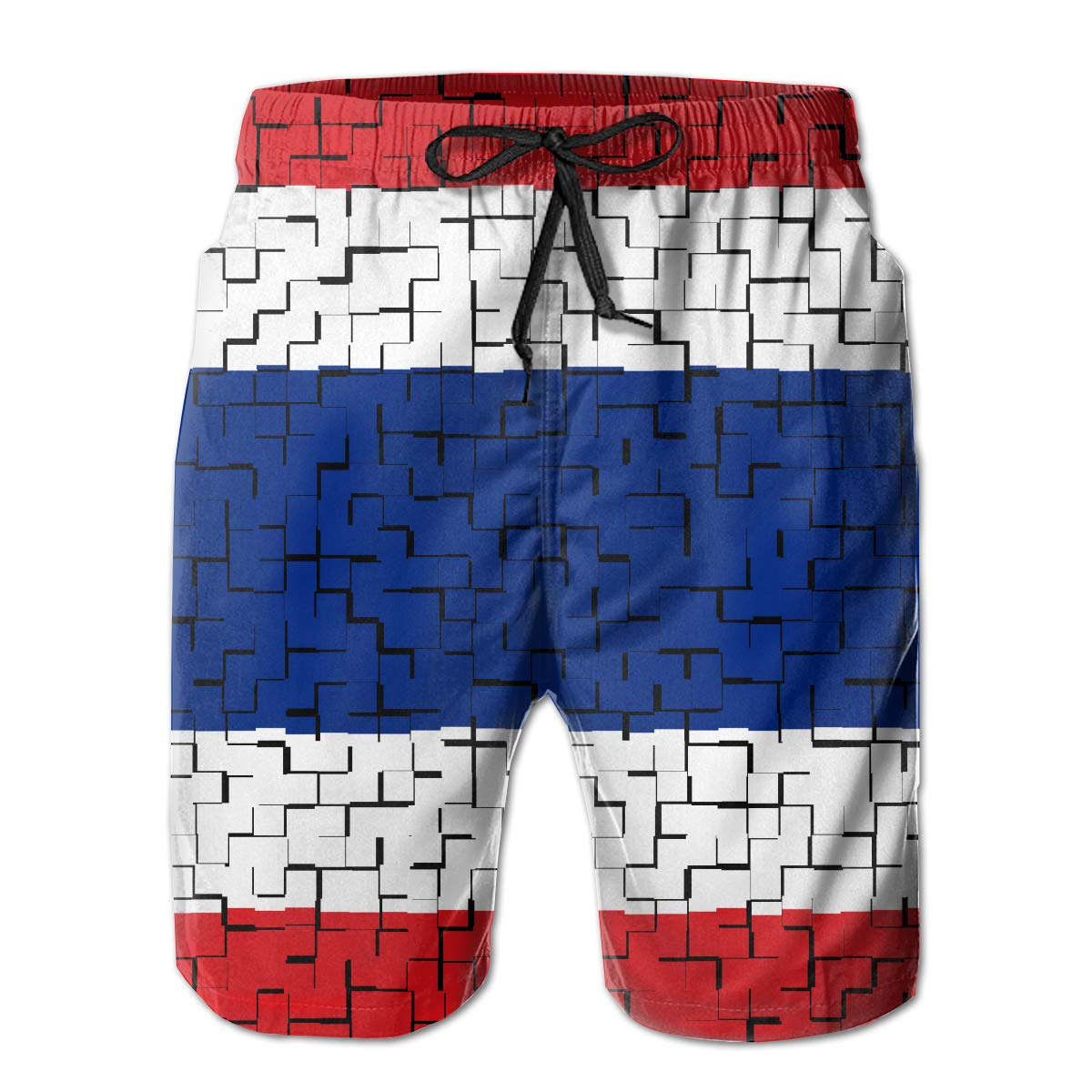 FASUWAVE Mens Swim Trunks Thailand Flag Puzzle Quick Dry Beach Board Shorts with Mesh Lining