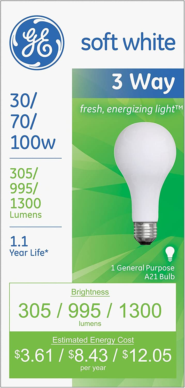 100-Watt A21 3-Way Soft White 6-Pack 70-Watt GE Lighting 97493 30-Watt