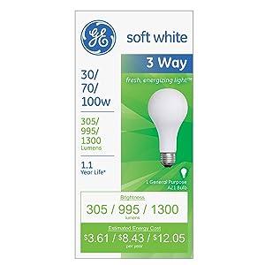 GE Lighting 97493 30-Watt - 70-Watt - 100-Watt A21 3-Way, Soft White, 6-Pack