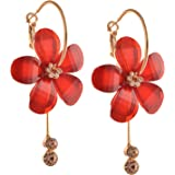 Zephyrr Fashion Floral Hanging Hoop Earrings For Women with Zircons