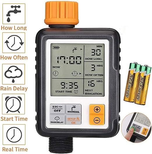 johgee Garden Programador de riego automático, IP65, Resistente al Agua y sin Fugas, Reloj de riego con riego programado [Clase de eficiencia energética A++]: Amazon.es: Jardín