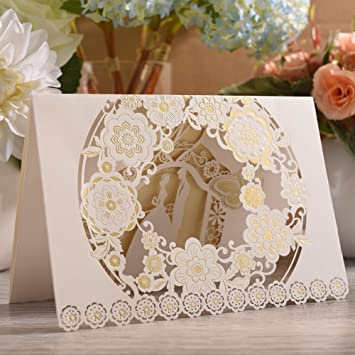 Amazon Com Longble 20 X Exquisite Invitation Cards Hollow Flowers
