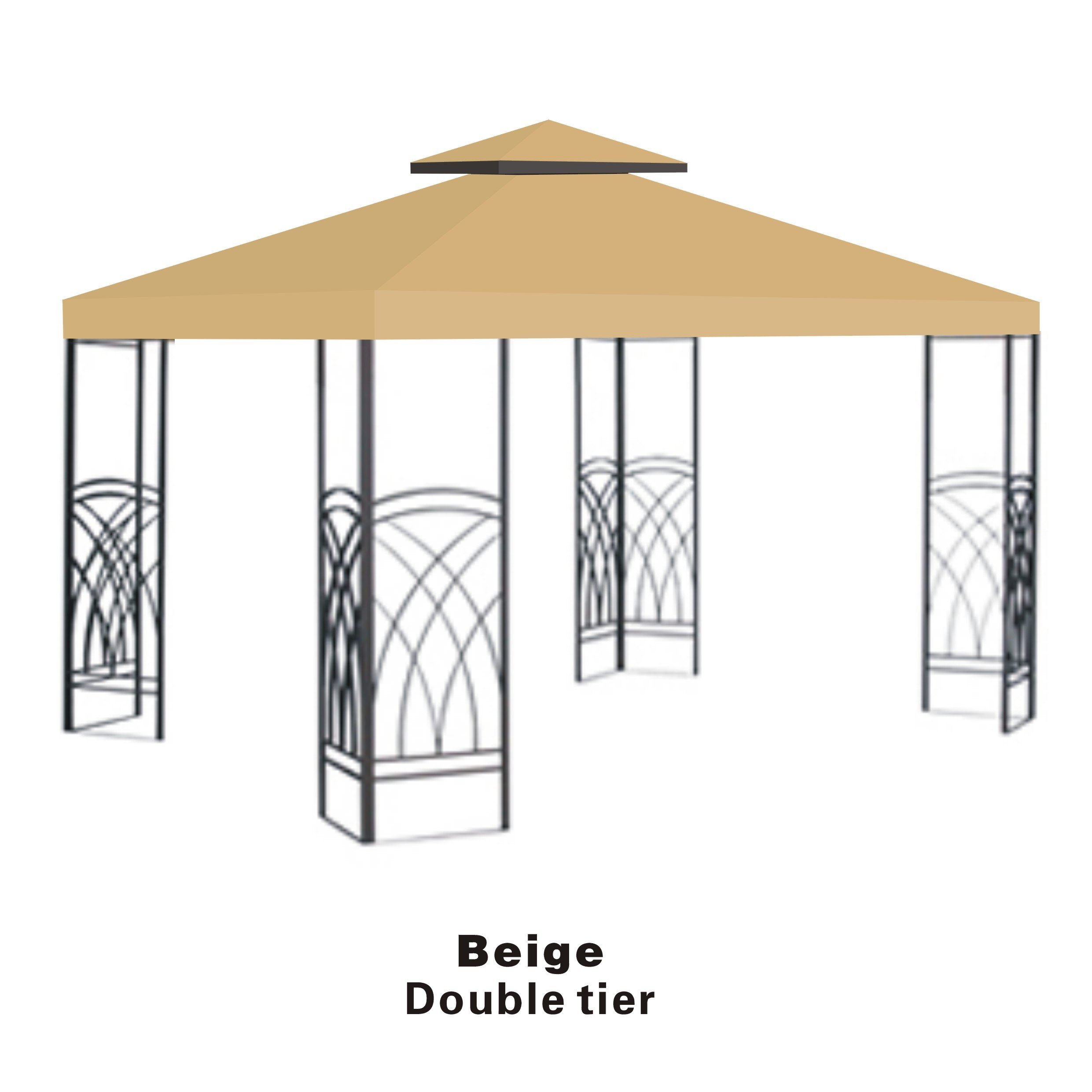 Replacement 10'X10'Gazebo Canopy top Patio Pavilion Cover Sunshade plyester Double Tiers-Beige by Benefit-USA