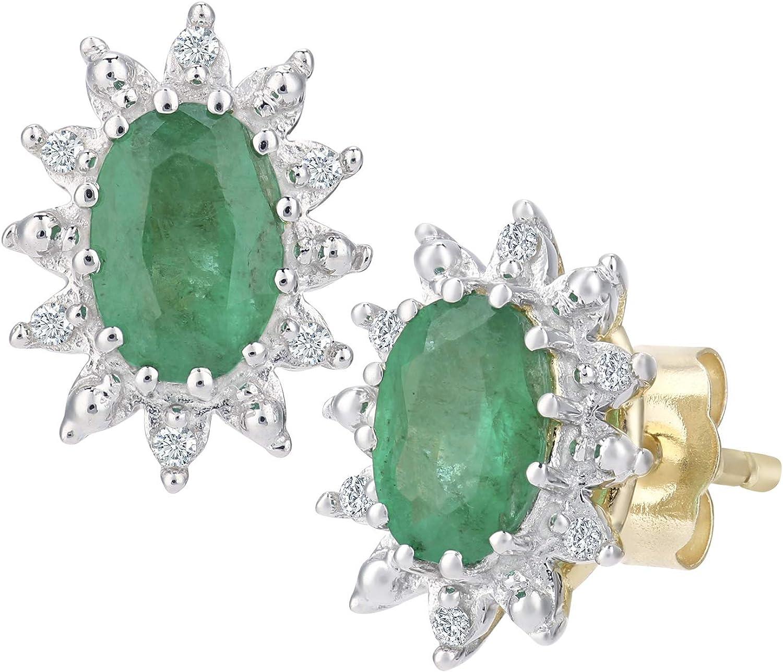 Naava Pendientes para Mujer de Oro Amarillo 9K con 14 Diamantes y Esmeraldas
