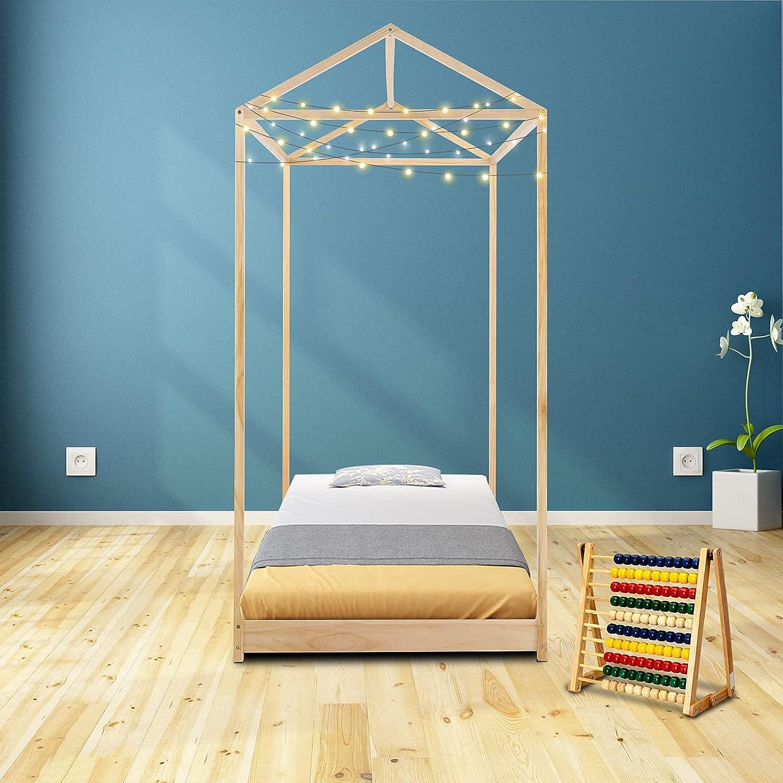 JOYMOR Twin House Bed for Kids Bed Frame,Solid Wood Floor Bed Platform Bedroom Furniture (Natural)
