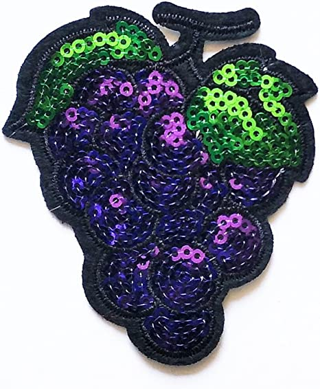Uva Frutas parche hierro bordado de Applique Patch Color Morado ...