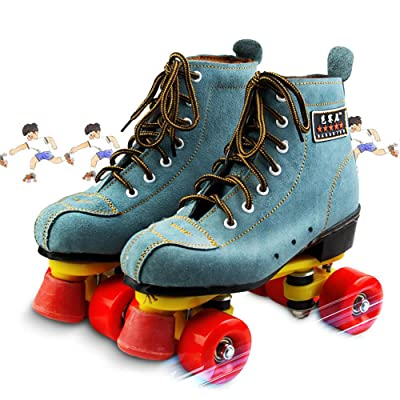 GPFDM Suede Leather Skate,Classic Quad Artistic Roller Skates for Adult & Youth for Indoor and Outdoor,37: Home & Kitchen