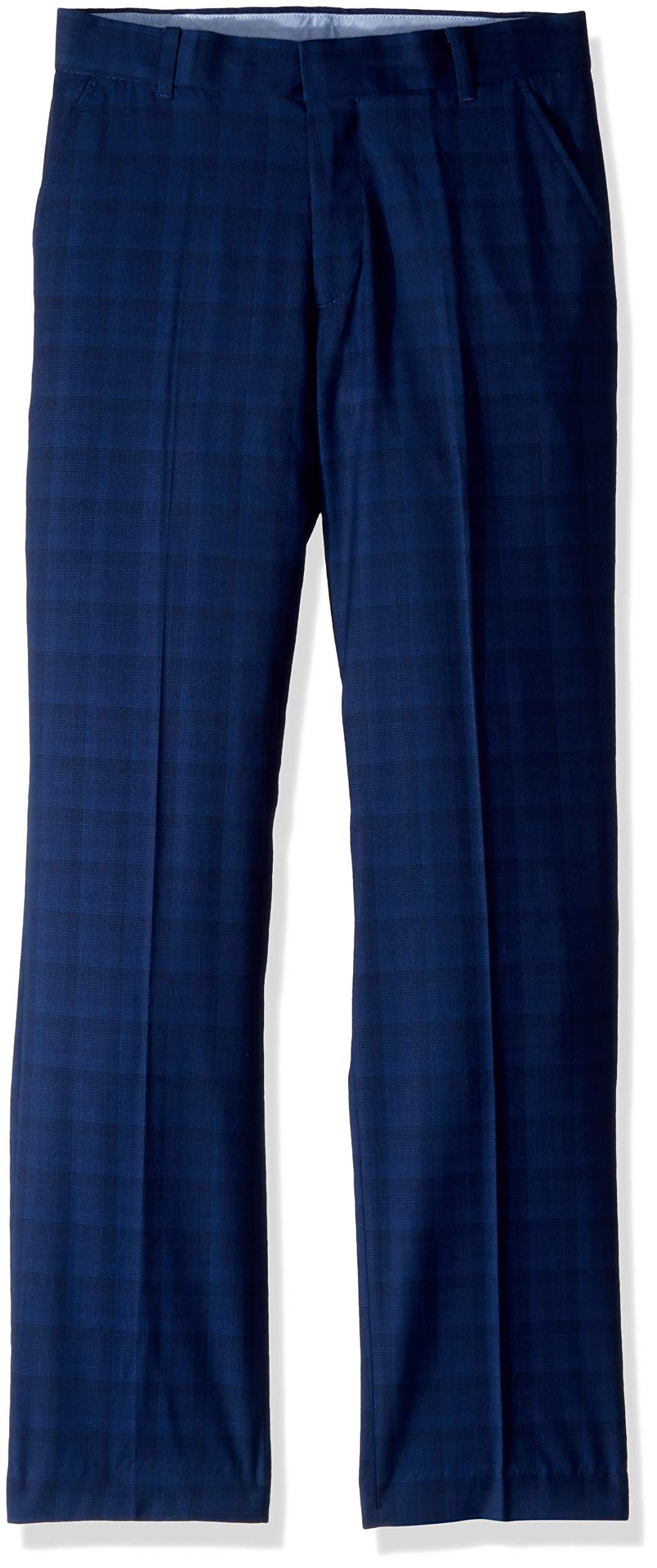 Tommy Hilfiger Boys' Big Flat Front Patterned Dress Pant, Midnight, 8