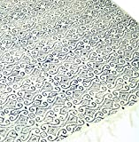 Guru-Shop Hand-Woven Block Print Carpet Made of Natural Cotton with Traditional Design - White/Blue Pattern 4, 180x110 cm, Kelims, Rugs & Floor Mats