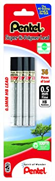 Pentel Super Hi Polymer Lead Refill 0.5mm Fine, Hb, 36 Pieces Of Lead (C505 Bp3 Hb K6) by Pentel