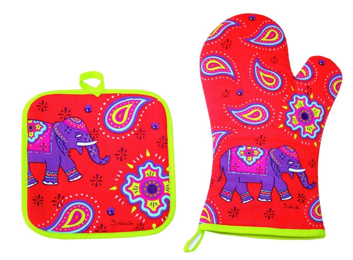 Manique et gant de four motif éléphant set kashmir-rouge