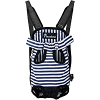 Pawaboo Pet Carrier Backpack, Adjustable Pet Front Cat Dog Carrier Backpack Travel Bag, Legs Out, Easy-Fit for Traveling Hiking Camping for Small Medium Dogs, Extra Large Size, Blue and White Stripes