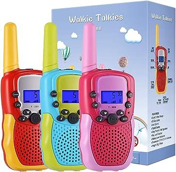 22 Canales LCD Pantalla VOX Larga Distancia 3KM Walkie Talkie Linterna Incorporado Juguete Regalo para Ni/ños Moglor Walkie Talkie Ni/ños 3 Pack