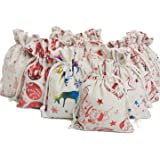 "TEXPLUS 20Pcs Assorted Color Christmas Party Favor Gift Bags with Drawstring (Christmas Burlap Bags, 4""Wx5.5""L)"