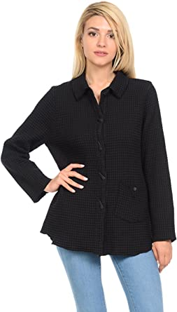 Focus Fashion Womens Cotton Small Waffle Button-Down Jacket