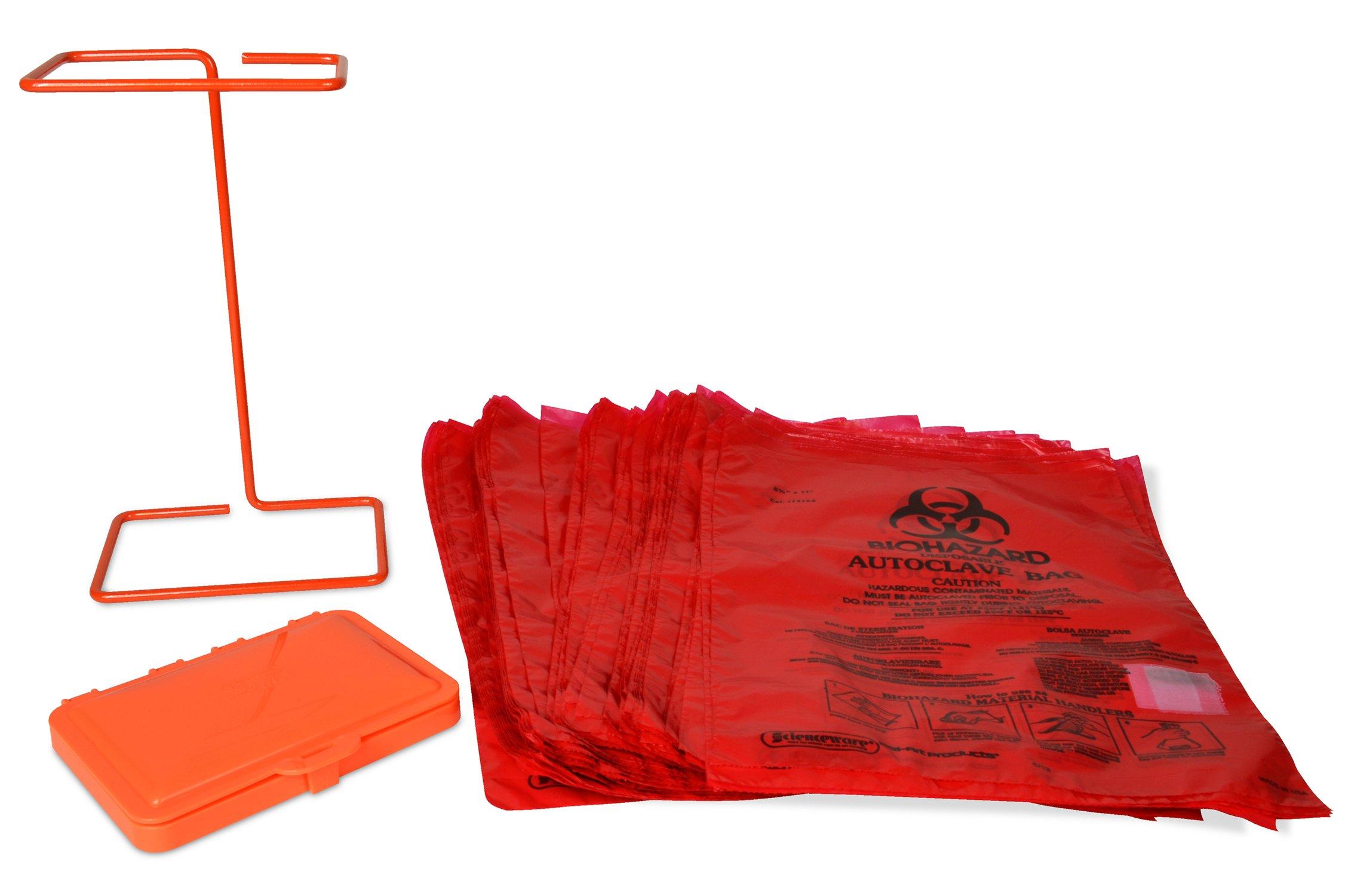 Bel-Art Poxygrid Bench-Top Biohazard Bag Holder Kit; Includes 100 Polyethylene 8¹/₂ x 11 in. Bags (F13193-0500)