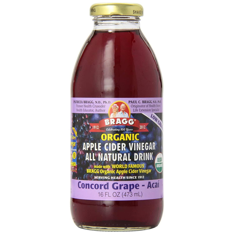 Bragg Organic Concord Hibiscus Vinegar Drink 16 Oz – Apple Cider Vinegar Beverage – All Natural Ingredients