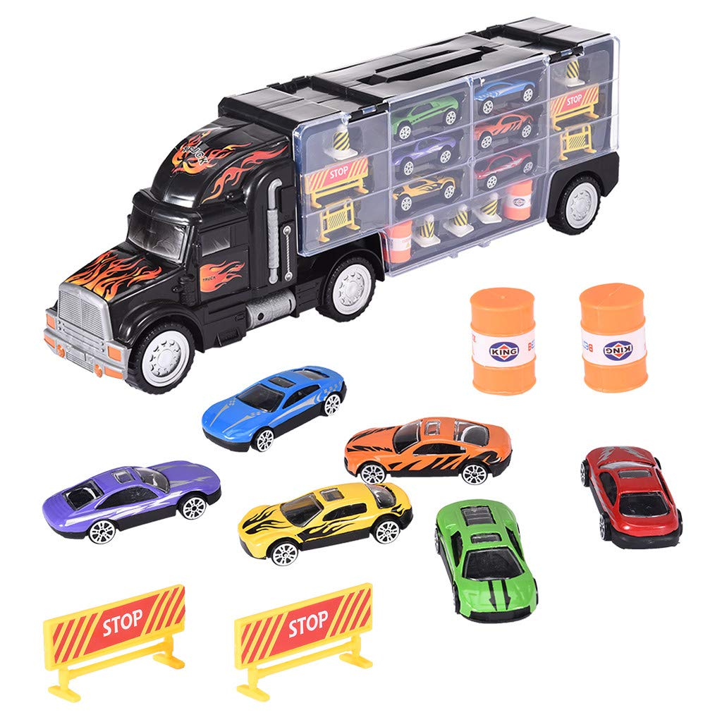 Jinjin Alloy Towing Truck with 6 Trolleys and Roadblock Facilities Children's Educational Toy Set is Durable and Safe for Young Children (Multicolor) by Jinjin