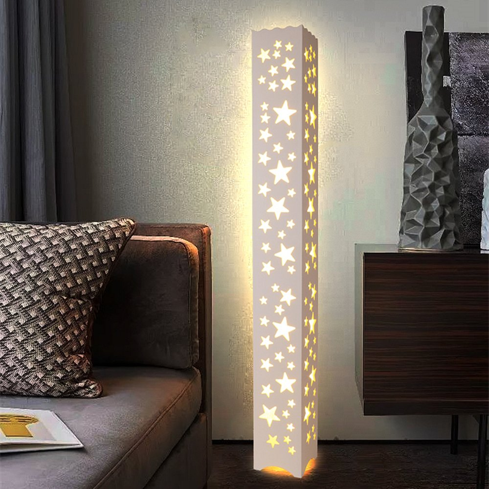 ELINKUME Floor Lamp,LED Warm White Hollow Carving Floor Lamp, Modern Style PVC Wood Plastic Plate Materials,Pedal Switch AC220V Indoor Lighting Perfect for Home, Living Room, Bedroom [Energy Class A]