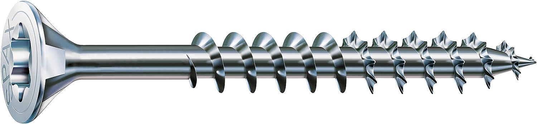 Zincato lucida zincata tramite galvanizzazione Vite universale con testa svasata filettatura parziale 4CUT Spax T-STAR plus 191010400603 4,0 x 60 mm