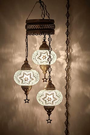 d384ad7e781c6 DEMMEX Turkish Moroccan Mosaic Hardwired OR Swag Wall Plug in Chandelier  Light Ceiling Hanging Lamp Pendant Fixture (3 X 6.5