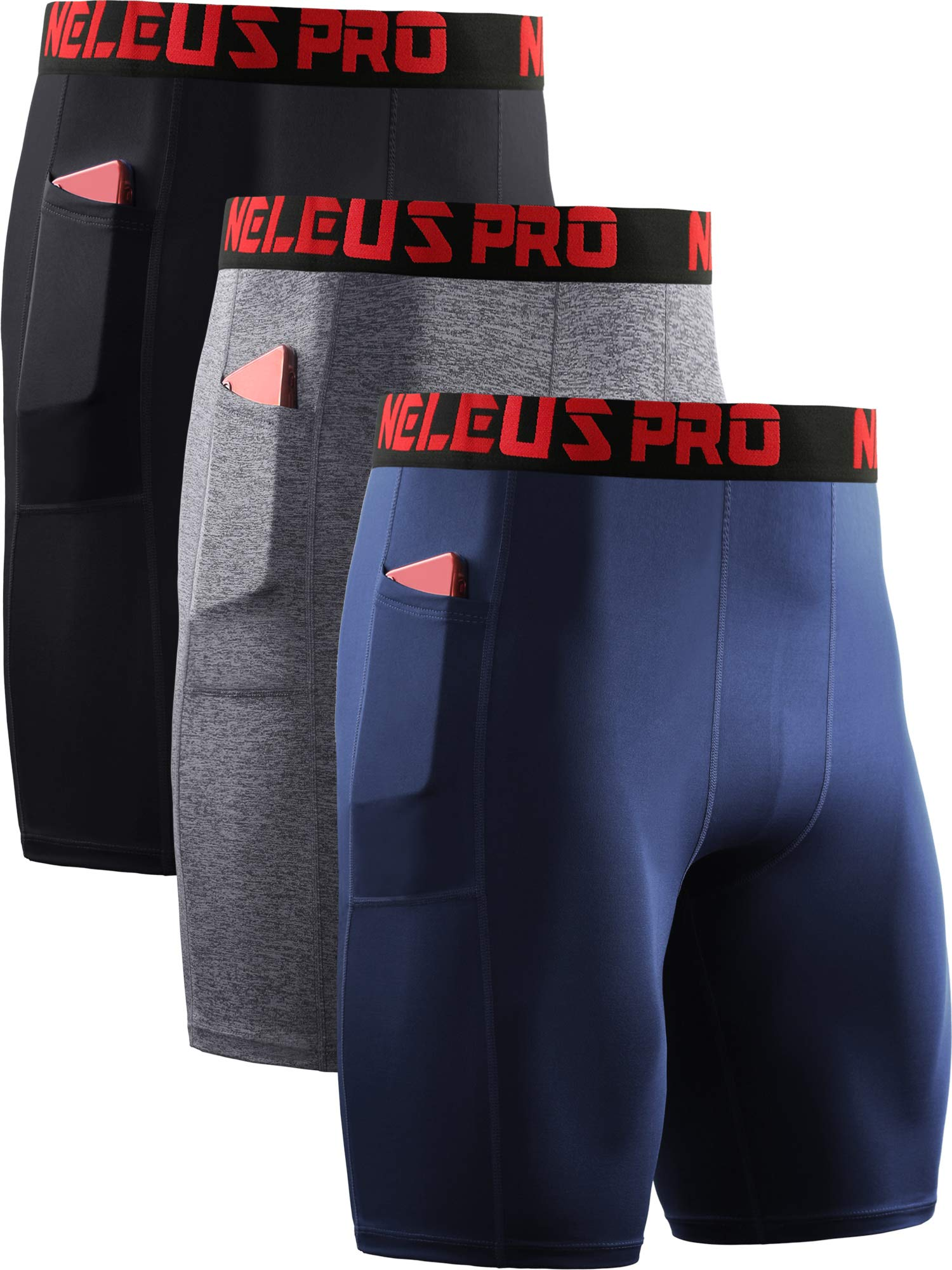 Neleus Men's Compression Shorts with Pockets 3 Pack,6064,Black/Grey/Navy Blue,US L,EU XL by Neleus